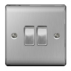 2 GANG 2W SWITCH BRUSHED STEEL