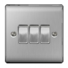 3 GANG 2W SWITCH BRUSHED STEEL